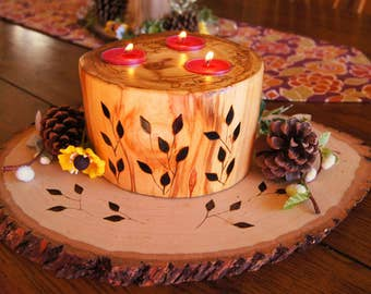 Chunky Aspen Candle with Wood-Burned Leaves and Wood Base/ Easter Centerpiece/Rustic Candle/Rustic Centerpiece/Wood Candle