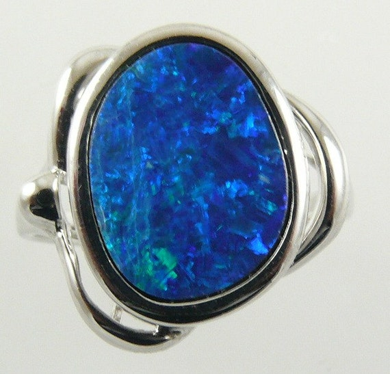 Opal Doublet Ring 2.75ct - 14k White Gold