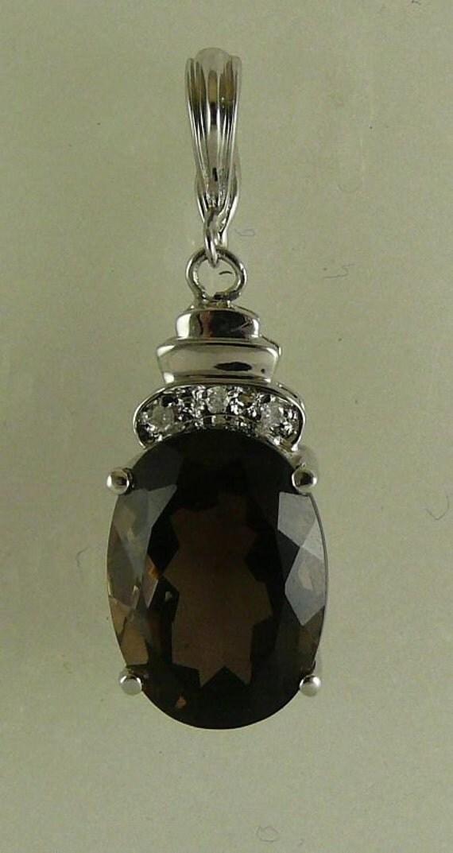 Smokey Topaz 5.98ct Pendant,14k White Gold & Diamonds 0.03ct, Enhancer