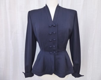 Vintage 40s 50s Lilli Ann Original 100% Virgin Wool Blazer Suit Jacket S Navy Blue Fitted Structured V-Neck Cuffs Lining Boho USA Glam Garb