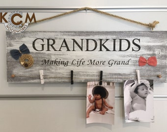 Art Grandkids rustic sign - Hand painted, Rustic Wood Sign, Distressed Sign, Home Wall Decor, Wood Stain Sign