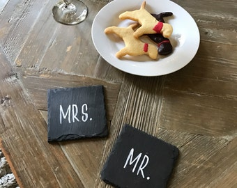 Mr. & Mrs. Slate Coasters, Set of 2
