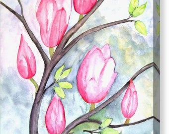 Pretty Pink Magnolias On Pastel Blue Canvas Print Size 16x20 Inches