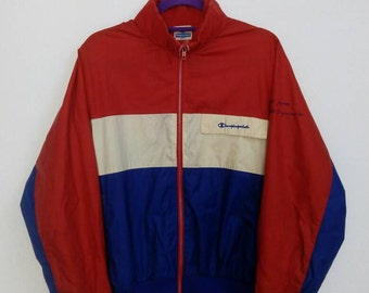 Vintage 80's Champion Windbreaker Zip Up Lightweight Sporty Runners Hipster Jackets Large Size