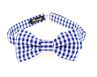 Bow tie in cotton gingham blue, pre-noue and adjustable