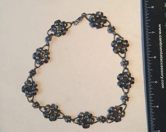 "Vintage Sterling Silver Choker Flower 14"" Necklace - AB"