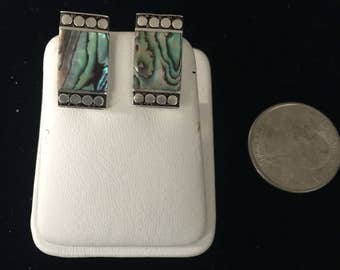 Vintage Sterling Silver Abalone Clip On Earrings - AB