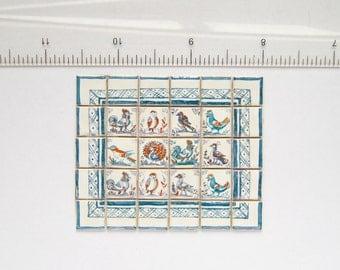 Dutch Delft Birds - Hand painted Miniature wall mural
