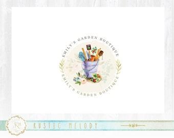 Gardening Logo, Farm Logo, Florist Logo, Rustic Logo, Stamp logo, Watercolor Logo, Decor Logo, Country Logo