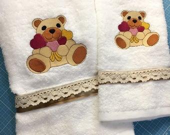 Couple face towel + guest bear imitation thun
