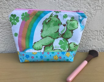 Vintage Care Bears 80s Retro Upcycled Cotton Fabric Makeup Bag Cosmetic Bag Gift Pencil Pouch Good Luck Bear Zipper Pouch Grumpy Bear