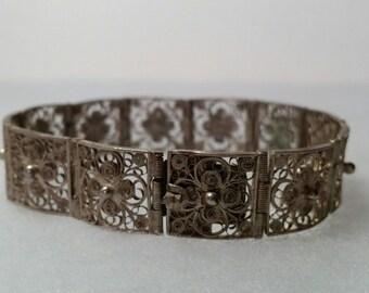 Vintage Silver Filigree Link Panel Bracelet