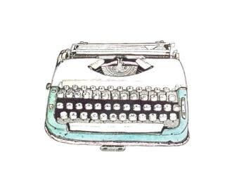 "Retro Typewriter illustration Limited Edition Digital Print on 5x7"""