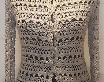Lace crocheted jacket. Silk jacket. Handmede