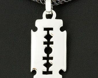 Razer Blade Dog Tag 925 Sterling Silver Pendant Gothic Jewelry