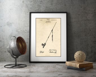Peace Pipe Art, Unique Pipe Patent Print, Framed Wall Art, Native American Decor, Rustic Home Decor