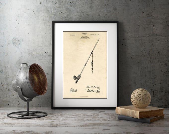 Peace Pipe Art, Unique Pipe Patent Print, Framed Wall Art, Native American Decor, Rustic Home Decor