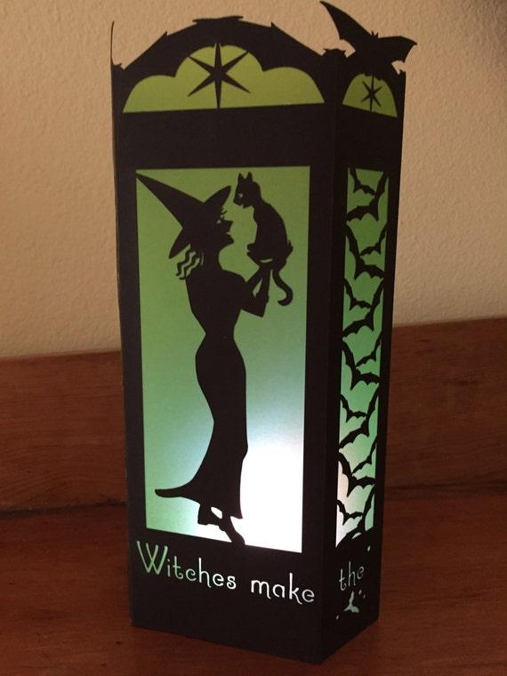 "Paper Lantern / Luminary - Halloween Silhouette -""Friendly Witch"""