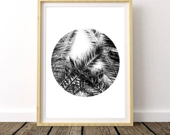 Black White Palm Tree, Palm Printable Art, Palm Leaf Prints, Tropical Wall Poster, Palm Digital Print, Palm Tree Wall Print, Palm Print