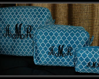 Personalized Makeup Bag Set, Embroidered Makeup Bag Set, Customized Toiletry Bag Set, Monogrammed Cosmetic Bag Set, Custom Cosmetic Bag Set