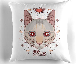 Custom cat pillow. Custom cat portrait. Gift for cat owner. Your pet on cushion. Throw pillow. Cat illustration. Cat cartoon cushion