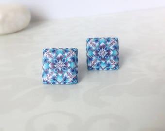 Polymer clay earrings- Stud Earrings - Everyday earrings - Gift under 15 - Blue earrings - Modern jewelry -Contemporary earrings