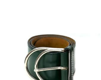 Large vintage teal leather belt