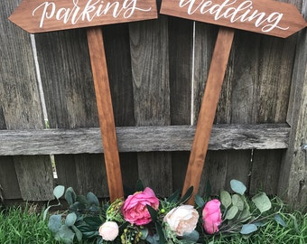 Wedding arrow sign | Wedding sign | Ceremony direction sign | Event sign |  | Custom sign | Wooden direction sign | Rustic wedding