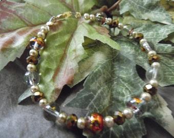 Handmade Beaded Bracelet Brown 8 Inches