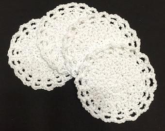 Crochet Coasters, Set of 4, Wedding Decor, Holiday Coasters