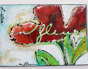 Mixed Media Floral Painting, Home Decor, Abstract Flowers