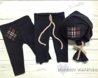 Boys 'Ellison' newborn pant & hat set.