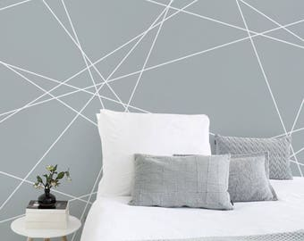 Diagonal Lines - Adhesive Wallpaper - Removable Wallpaper - Wall Sticker - Wall Mural - Customizable Wallpaper