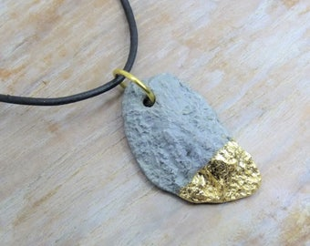 Necklace concrete abstract No.2 with sheet metal - gift -.