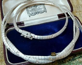 Vintage 925 sterling silver handcrafted necklace/choker, 1979, full uk hallmarks