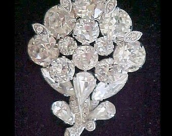 Vintage Eisenberg #5551 Clear Rhinestone Flower brooch, Art Deco Rhinestone Brooch, Rhinestone Flower Brooch, Designer Vintage Jewelry