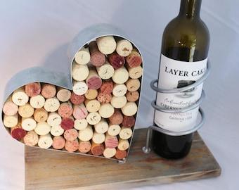 Wine Bottle & Cork Holder Galvanized Steel and Reclaimed Wood Base