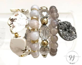 The Neutral Grey Stack, Bracelets, Beaded Bracelets, Stretch Bracelets, CRZ Designs