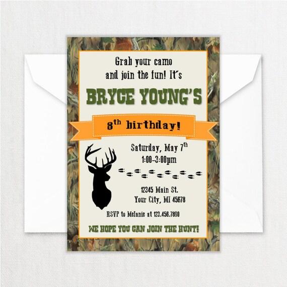 Hunting Birthday Party Invitations Deer Theme Birthday