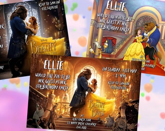 Beauty & the Beast - Personalised Children's Party Invitations - Pack of 10 - 3 Designs