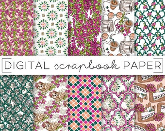 Fuchsia Pink Green Emerald Digital Scrapbook Paper Watercolor Gold Glitter Boho Chic Pattern Hand Drawn Doodle Floral Abstract Flowers Puppy