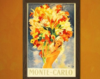 Printed on textured bamboo Art paper - Monte-Carlo Travel Poster Vintage Travel Monaco Poster Dorm Poster Retro Travel Poster Vintage  Art