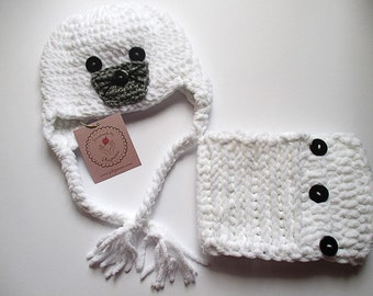 Crochet Hat and Scarf Set, crochet hat seal, animal hat, boys hats, crochet baby boy hat and scarf, girls hats, photo prop, kids hats