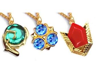 Spiritual Stones Necklace / Keychain - Kokiri Emerald - Goron Ruby - Zora Sapphire