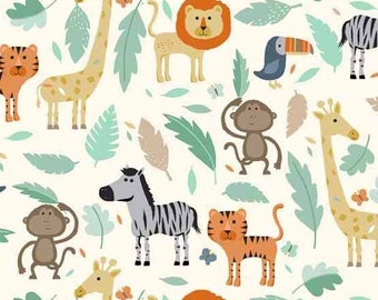 Baby Jungle in Scenic from Makower UK  - 1/2 Yard