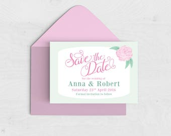 Peonies Save the Date Card / Magnet - Spring Summer Wedding - Pink, Mint Green - Peony - Floral Save the Date
