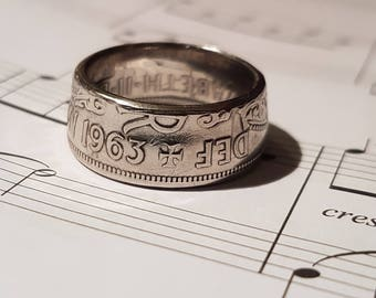 Coin Ring Half Crown  - Hand Crafted 1963- Size T 1/2