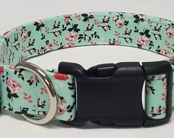 dog collar,  ring around the rosie, floral dog collar, floral collar, female dog collar, female collar, vera bradley inspired, flowers