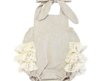 Linen & Lace Ruffle Bubble Romper | Baby Girl Romper | Vintage Bubble Romper | Lace Ruffles