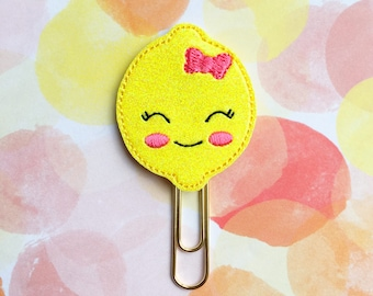 Lemon Planner Clip, Yellow Glitter Vinyl, Bookmark Paperclip, Happy Planner, Erin Condren